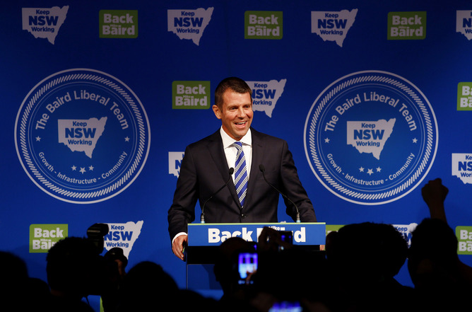 'Four more years' for NSW Premier Mike Baird, which the crowd chanted as he arrived at the Liberals' election night party. Nikki Short/AAP
