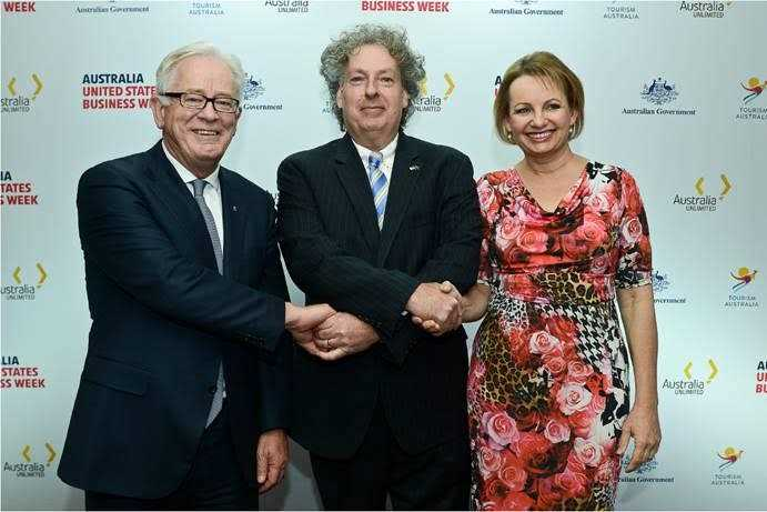 Commonwealth Trade Minister Hon. Andrew Robb and Minister for Health, Sussan Ley congratulates Dr David Burton (Compumedics Chairman/CEO) on new major strategic MEG Brain Imaging deal at USA trade mission (San Francisco; 18Feb16)